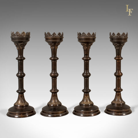Set of Four Large Candlesticks, Church Candle Pricket Torcheres - London Fine Antiques