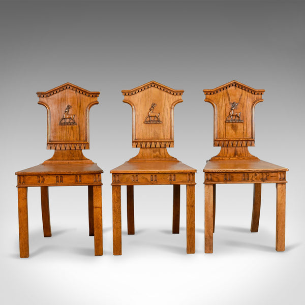 Set Of Three Antique Hall Chairs, Oak, Scottish, Stag, Regency Circa 1820 - London Fine Antiques