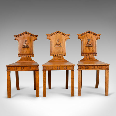 Set Of Three Antique Hall Chairs, Oak, Scottish, Stag, Regency Circa 1820