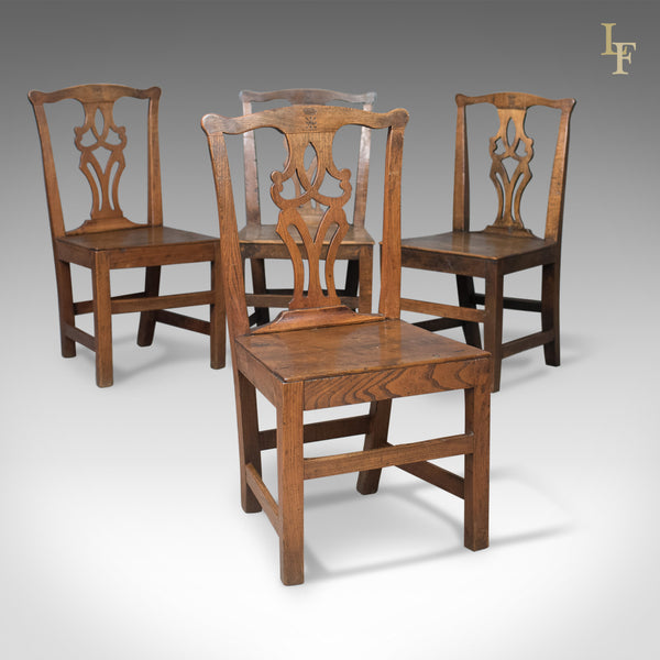 Set of 4 Antique Dining Chairs, Oak & Elm, English, Country Kitchen c.1800