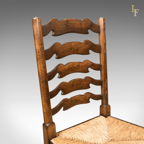 Set of 4 Antique 'Wavy Line' Ladderback Dining Chairs, Edwardian c.1910