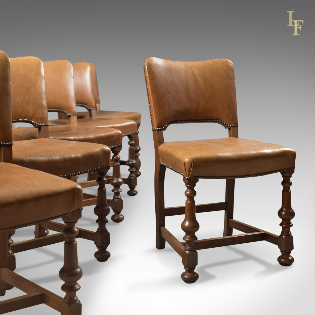 Set of 6 Antique Dining Chairs, Oak & Leather, English, Edwardian c.1910