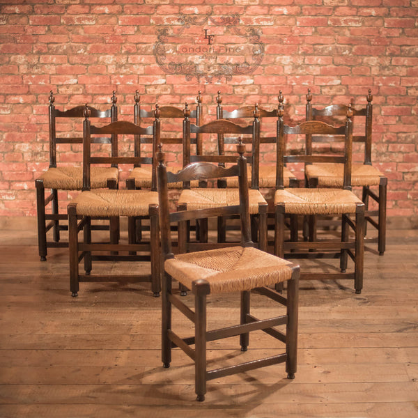 Chairs & Seating-Set of 8 Antique Dining Chairs, Rush Seats, c.1900 - 1