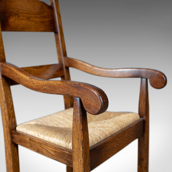 Set of Eight Dining Chairs, C20th English Oak in Victorian Taste, Rush Seats - London Fine Antiques
