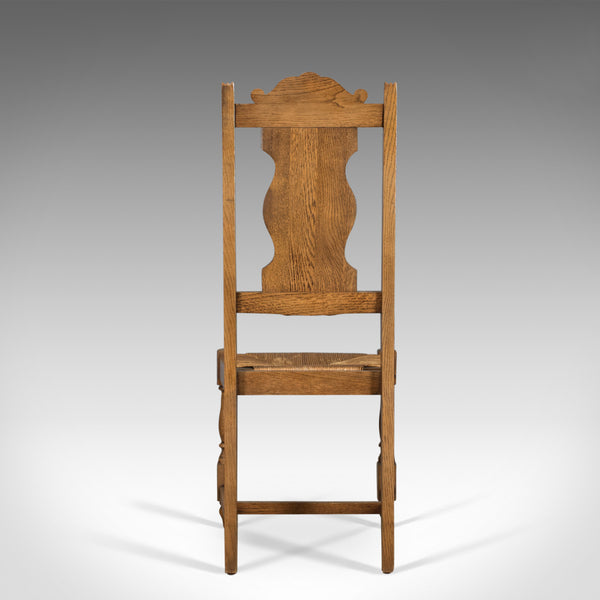 Set of Five Antique Dining Chairs, Flemish Country Kitchen, Oak, Rush Circa 1910