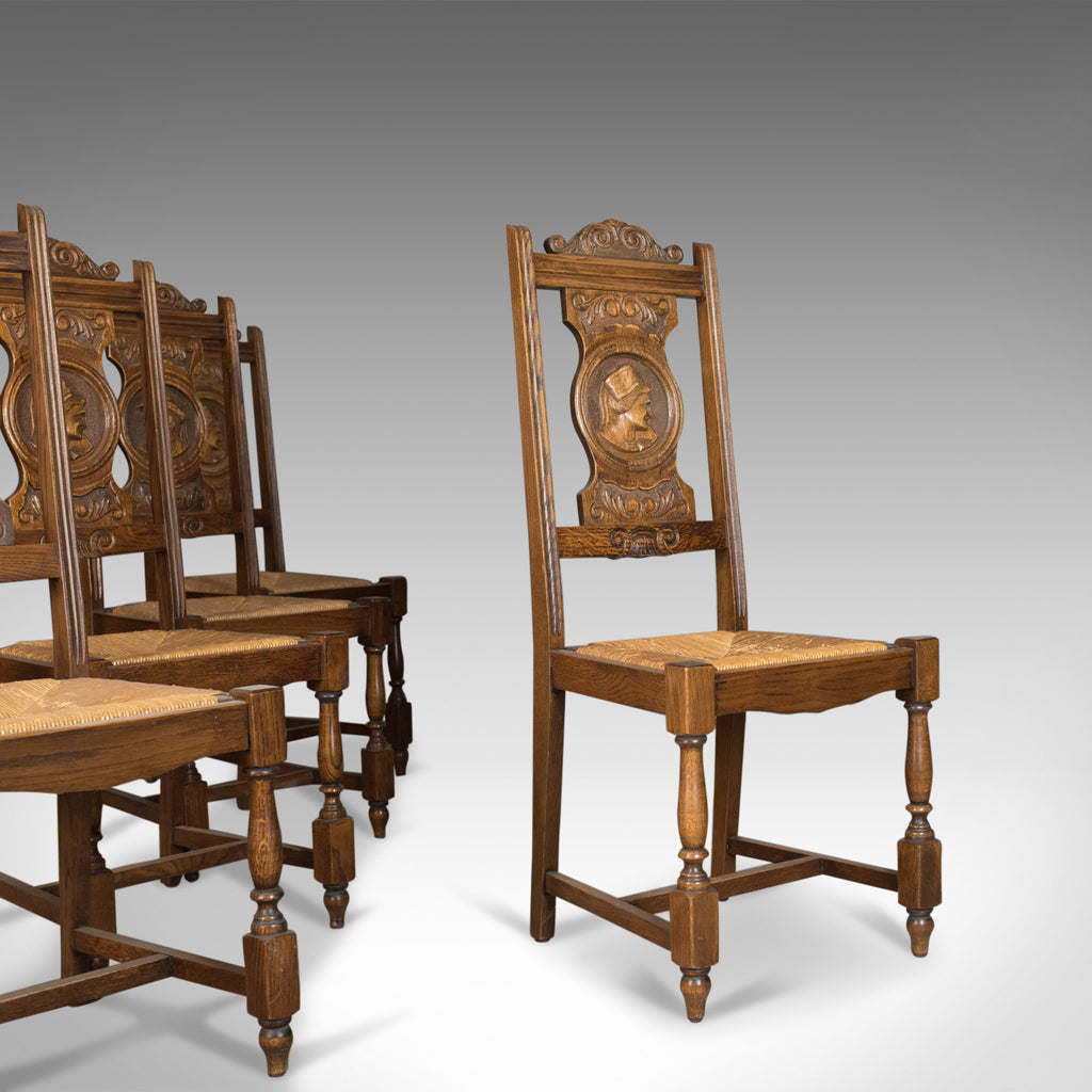 Set of Five Antique Dining Chairs, Flemish Country Kitchen, Oak, Rush Circa 1910 - London Fine Antiques