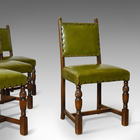 Set of Four Antique Dining Chairs, Jacobean Revival, English Oak Circa 1910