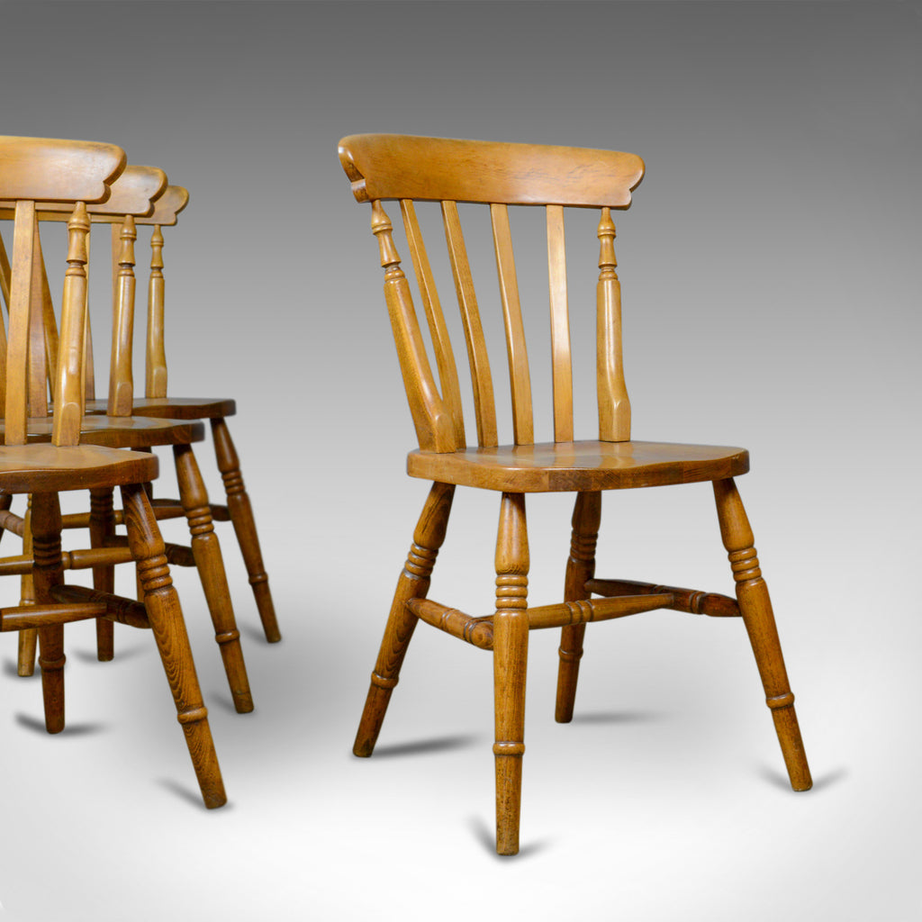 Set of Four, Antique, Dining Chairs, Lath Back, Windsor, Station Early C20th