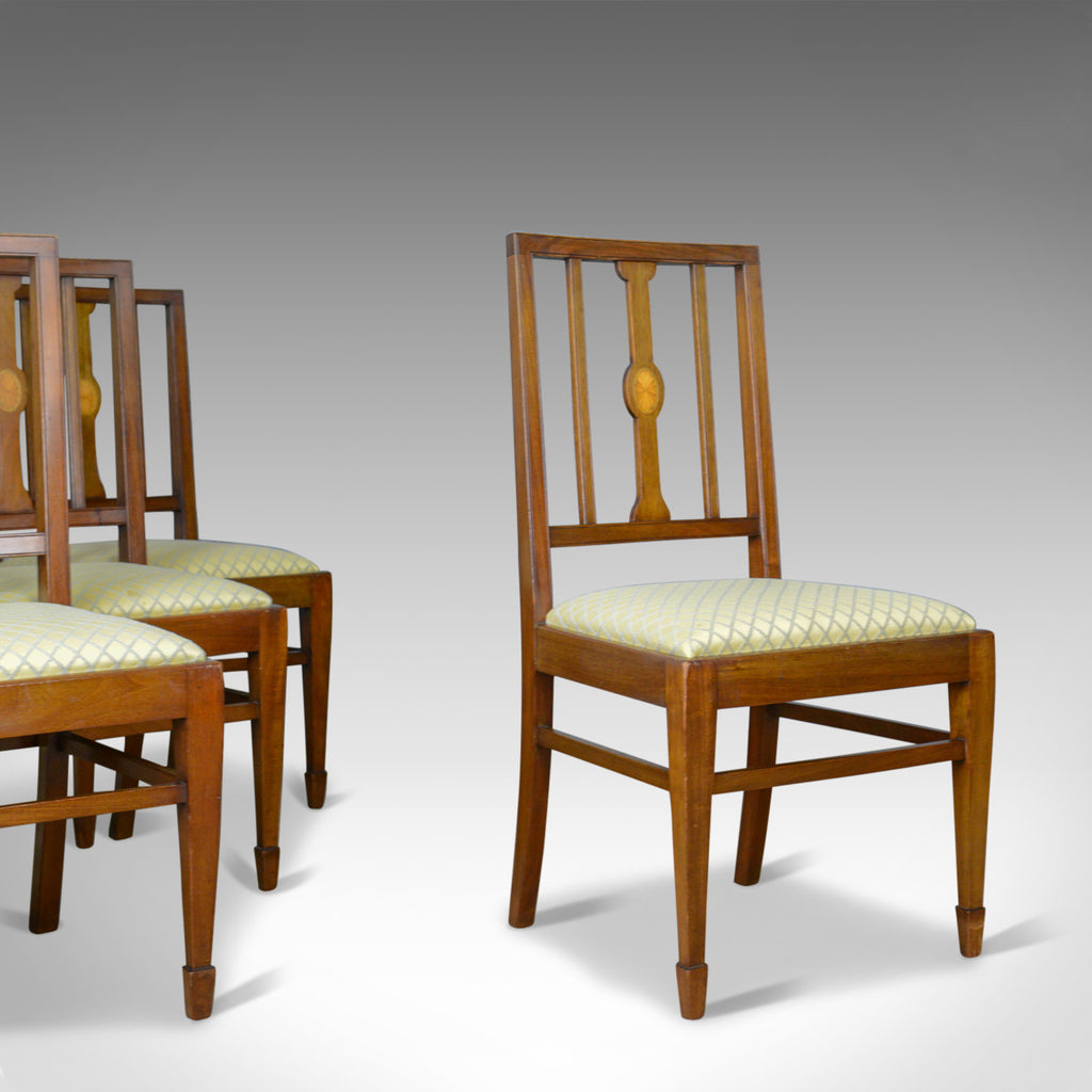 Set of Four Antique Dining Chairs, Mahogany, Edwardian Sheraton Revival c.1910 - London Fine Antiques