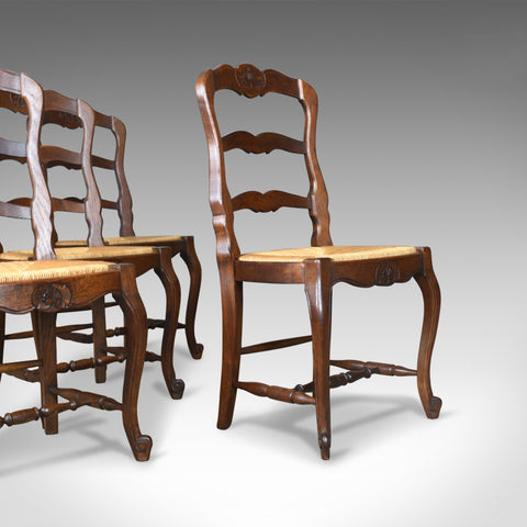 Set of Four Antique Kitchen Chairs, French Country Dining, Circa 1900