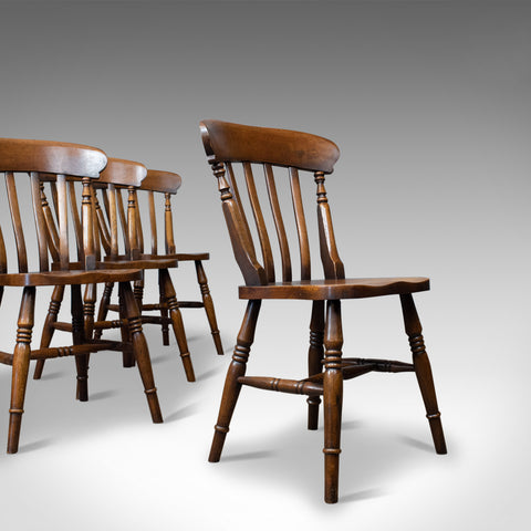 Set of Four Antique Station Chairs, English, Oak, Windsor, Dining, Circa 1890