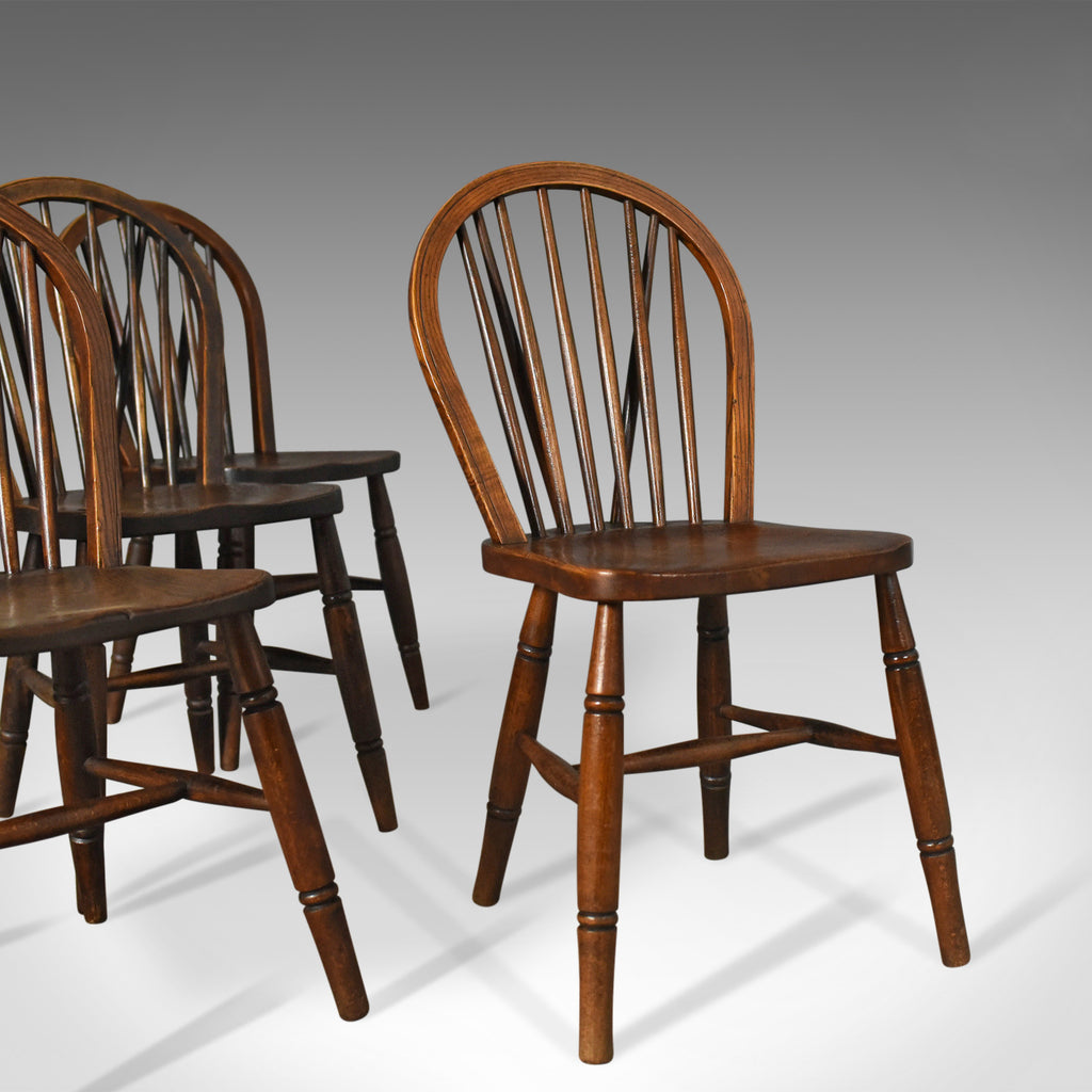 Set of Four Antique Windsor Chairs, High Wycombe Dining Hoop Back, Tail, c.1880 - London Fine Antiques
