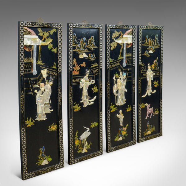 Exquisite Wall Coverings From China: Set Of Four Chinese Wall Panels, Decorative, Mother Of