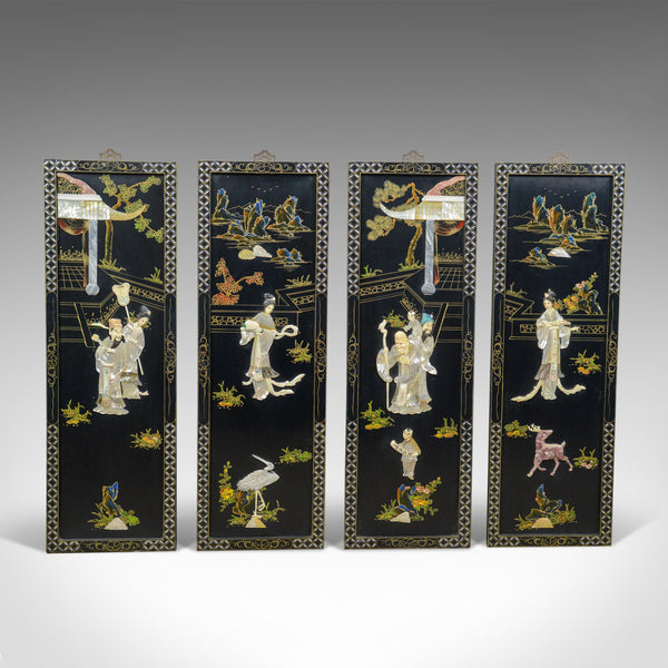Set Of Four Chinese Wall Panels Decorative Mother Of