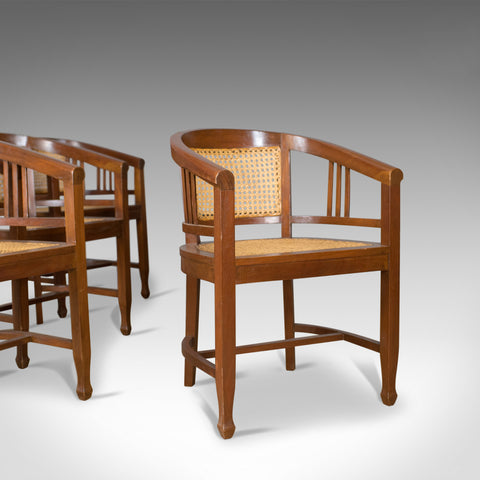 Set of Four Elbow Chairs, C20th Contemporary Tub Dining Chairs, Cane, Bergere