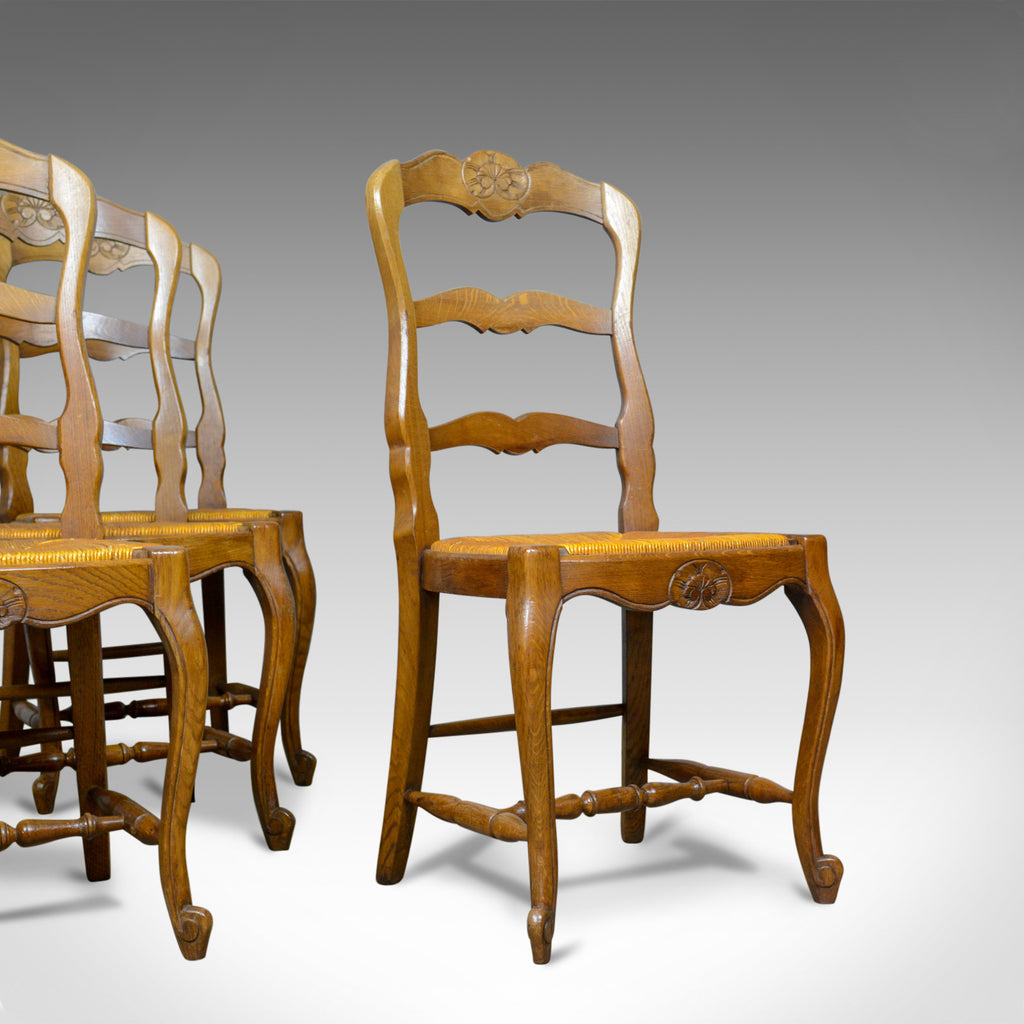 Set of Four, French Antique Dining Chairs, Country, Kitchen, Oak, Rush, c.1930 - London Fine Antiques