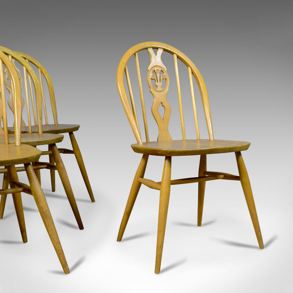 Set of Four Mid-Century Modern Dining Chairs, English, Beech, Danish Taste c1960