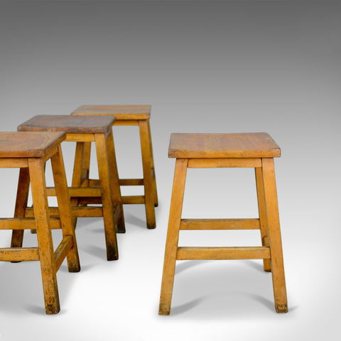 Set of Four Vintage, Low, Lab Stools, English, Beech, Seats, 20th Century