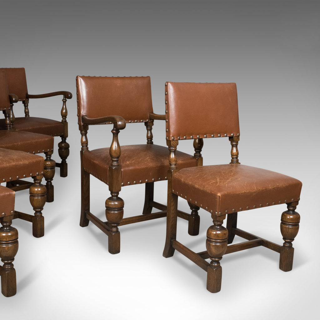 Set of Six Antique Dining Chairs, English, Edwardian Cromwellian Revival, Oak