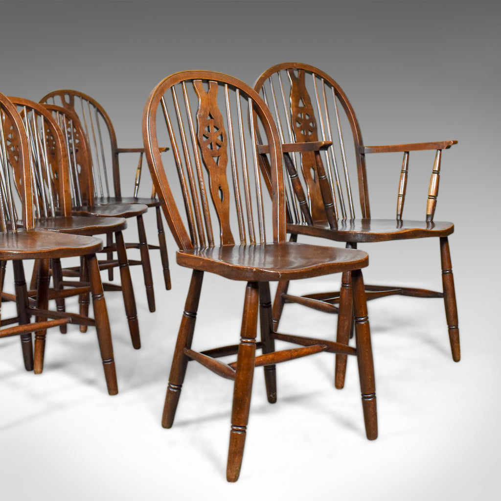 Set of Six Antique Dining Chairs, English Hoop Back Windsor Wheelback Elm c1900