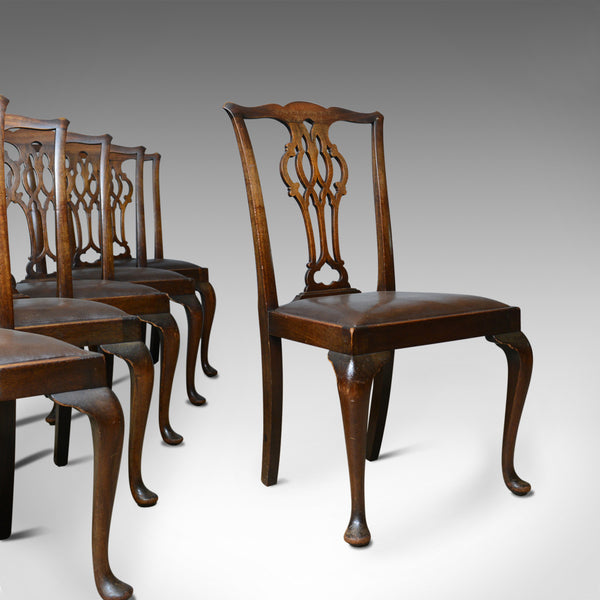 Set of Six Antique Dining Chairs, Victorian, Chippendale Revival, Leather c1900 - London Fine Antiques