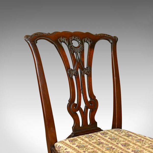 Set of Six Antique Dining Chairs, English Victorian Chippendale Taste Circa 1900