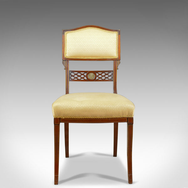 Set of Six, Antique, Dining Chairs, English, Regency, Mahogany, Circa 1820