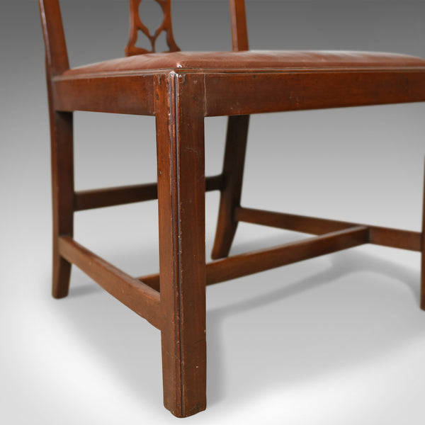 Set of Six Antique Dining Chairs, Mahogany, English, Georgian, Chippendale c1800