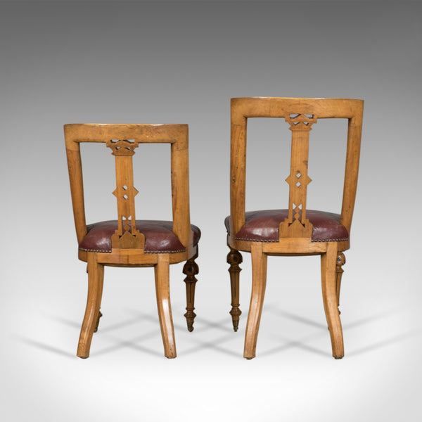 Set of Six Antique Dining Chairs, Scottish Ash Leather, Aesthetic Movement c1880