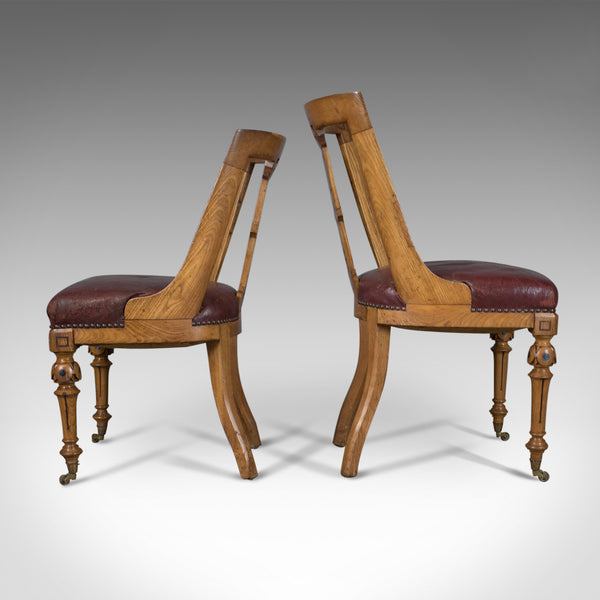 Set of Six Antique Dining Chairs, Scottish Ash Leather, Aesthetic Movement c1880 - London Fine Antiques