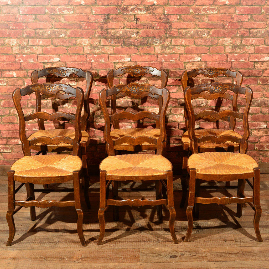 Set Of Six Antique French Rush Seat Dining Chairs London