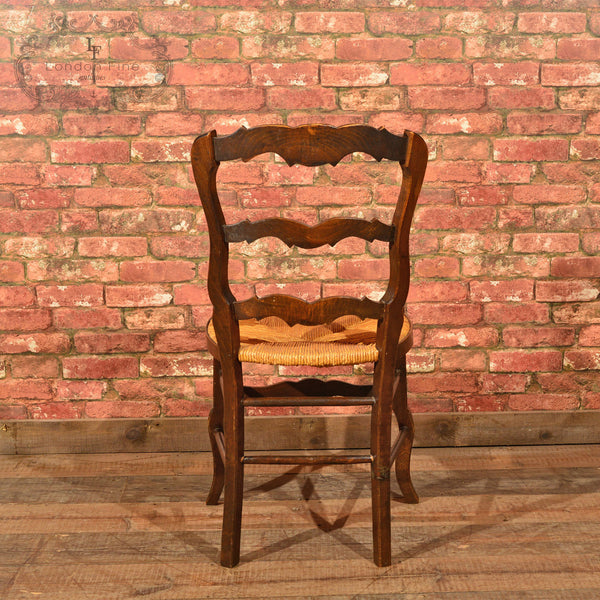 Set of Six Antique French Rush Seat Dining Chairs - London Fine Antiques - 5