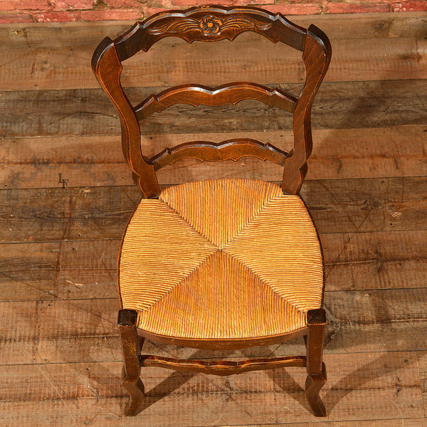 Set of Six Antique French Rush Seat Dining Chairs - London Fine Antiques - 6