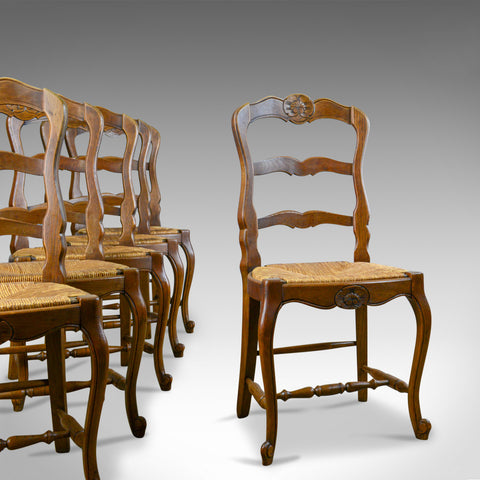Set of Six Antique Kitchen Chairs, French Country Dining, Circa 1910