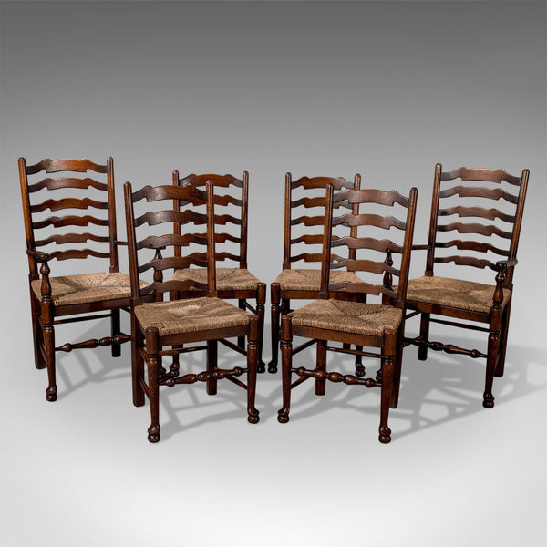 Set of Six Antique Oak Wavy Line Ladderback Dining Chairs, Edwardian Circa 1910 - London Fine Antiques