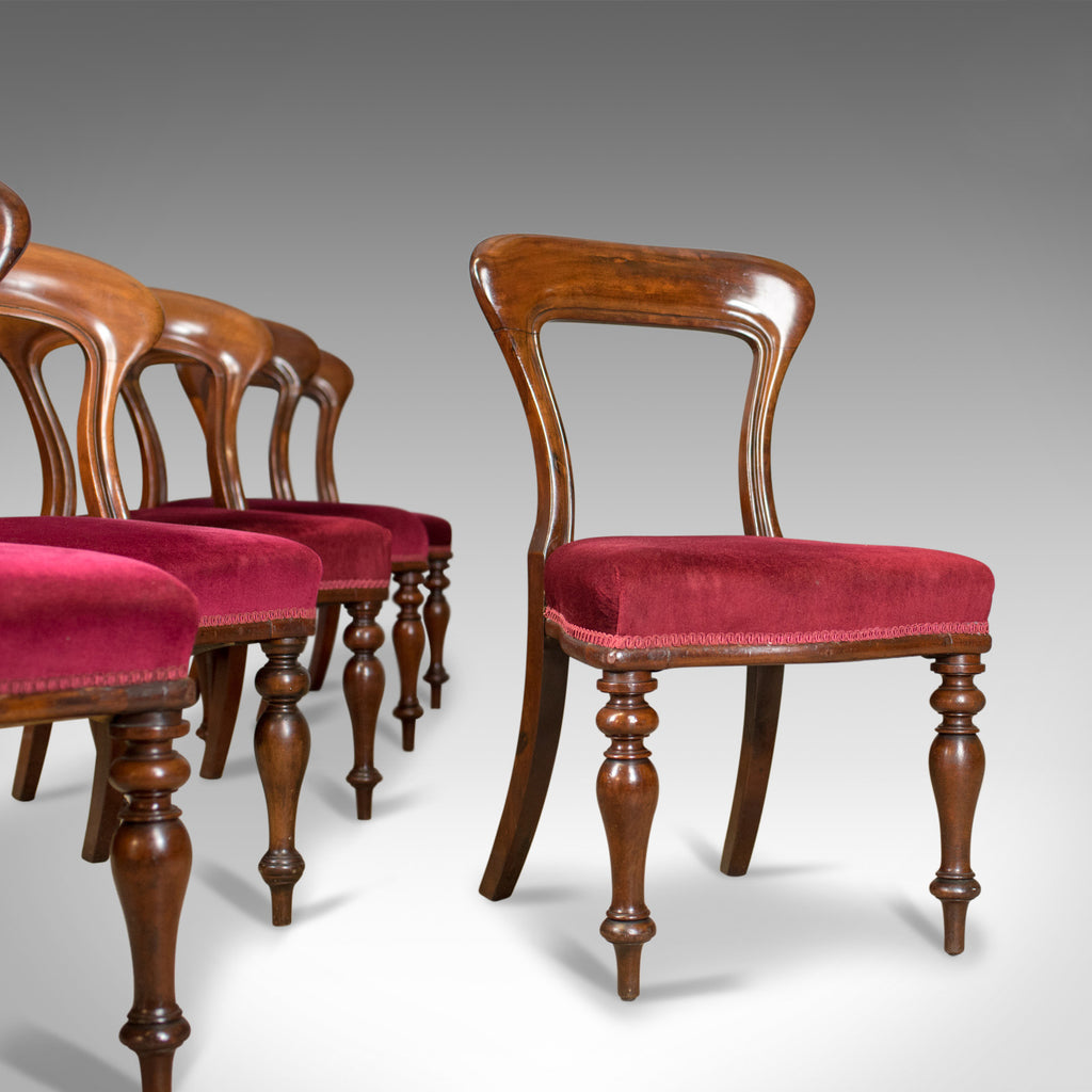 Six Antique Dining Chairs, 4+2, English, Victorian, Mahogany, Upholstered c.1840