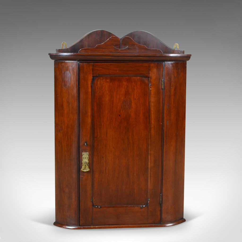 Small Antique Corner Cabinet, English, Walnut, Wall, Hanging, Circa 1900 - London Fine Antiques