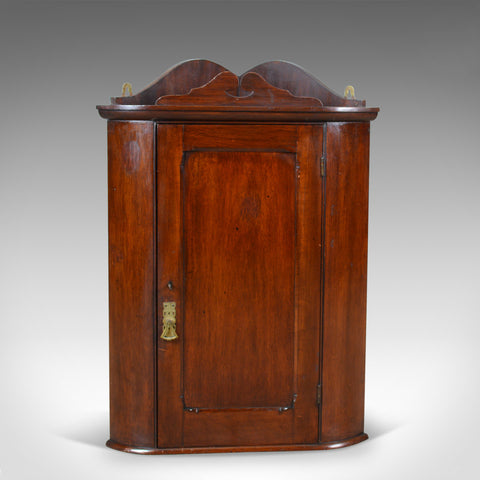 Small Antique Corner Cabinet, English, Walnut, Wall, Hanging, Circa 1900