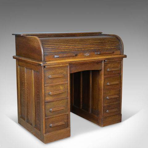 Small Antique Roll Top Desk, Oak, Tambour, William Angus and Co Ltd London c1910