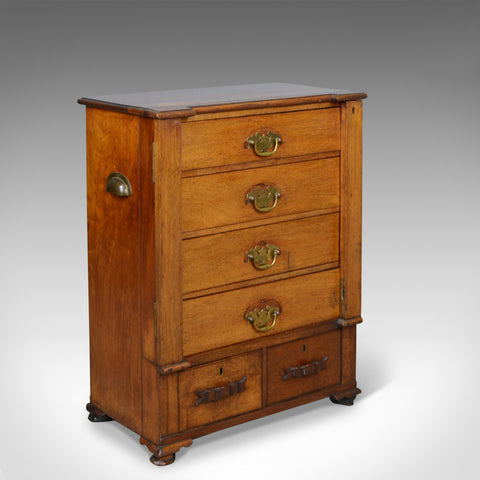 Small, Antique, Wellington Chest, Oak, Fruitwood, Campaign, Specimen c.1890 - London Fine Antiques