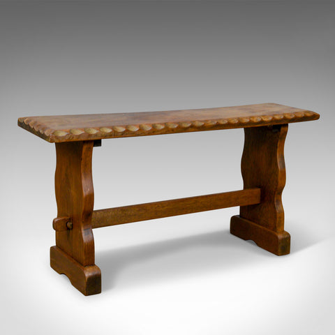 Small Teak Bench, English, Arts & Crafts Revival Two Seat Form, Mid 20th Century
