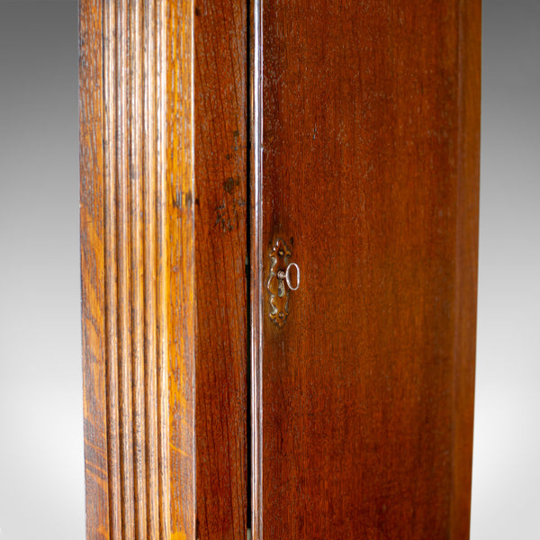 Tall, Narrow Antique Corner Cabinet, Edwardian, Georgian Revival, Oak, c.1910