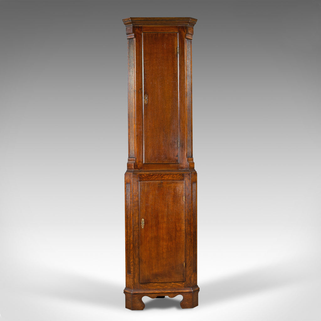 Tall, Narrow Antique Corner Cabinet, Edwardian, Georgian Revival, Oak, c.1910 - London Fine Antiques