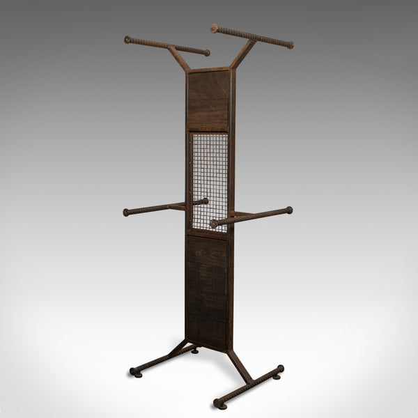 Tall Vintage Display Stand, English, Steel, Oak, Fashion, Retail, Industrial - London Fine Antiques
