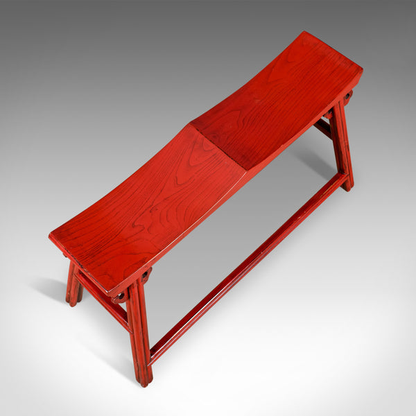 Traditional Chinese Two Seat Bench, 20th Century, Red, Lacquer
