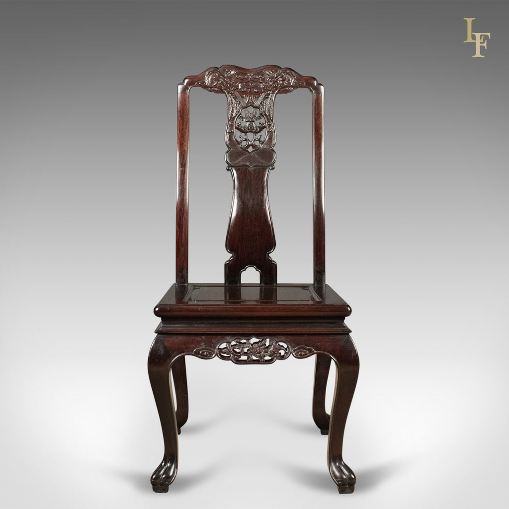 Traditional Oriental Rosewood Dining Table And Set Of 6
