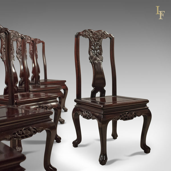 Traditional Oriental Rosewood Dining Table and Set of 6 Chairs Carved Late C20th