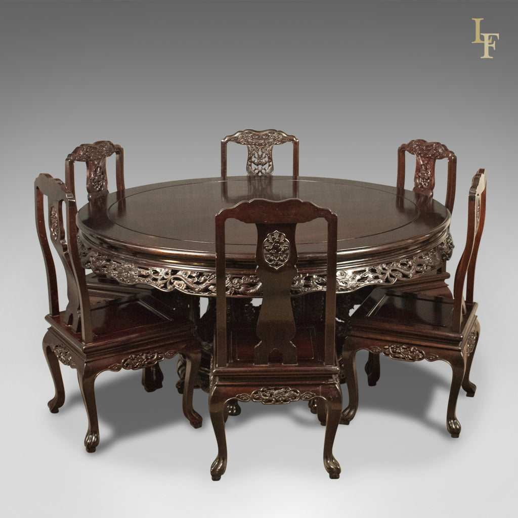 Traditional Oriental Rosewood Dining Table And Set Of 6 Chairs Carved Suite Late C20th