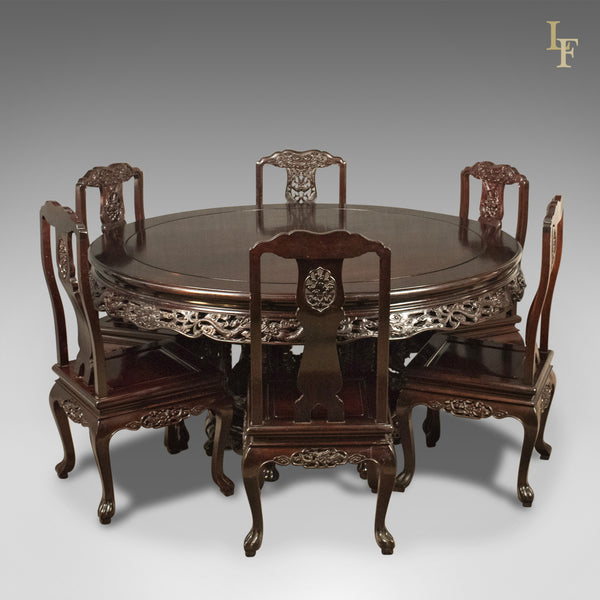 Traditional Oriental Rosewood Dining Table and Set of 6 Chairs Carved Late C20th - London Fine Antiques