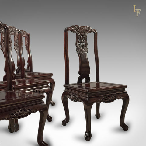 Traditional Oriental Rosewood Set of 4 Dining Chairs, Late 20th - London Fine Antiques